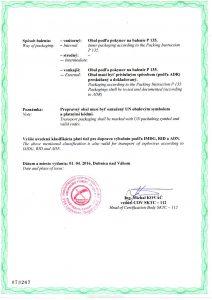 Elektrické pálniky, ADR certifikát